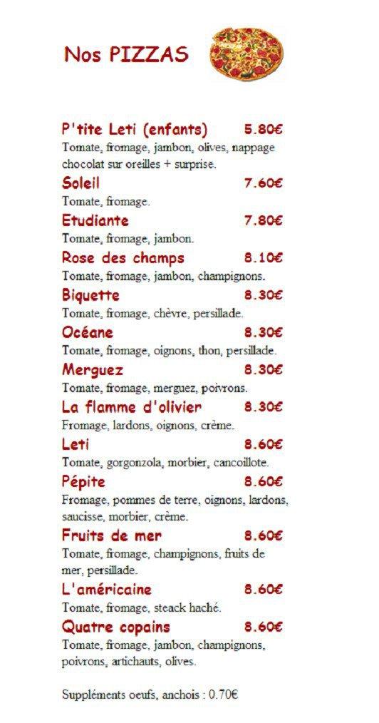 Der K Food Pontarlier Menu