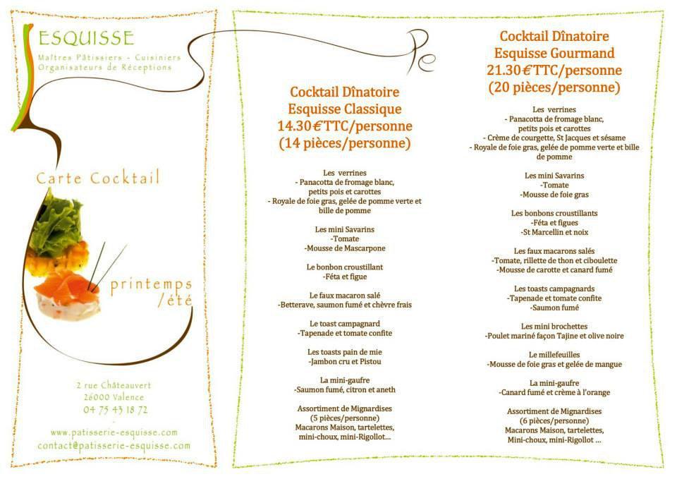 Esquisse valence carte menu et photos for Menu ete original