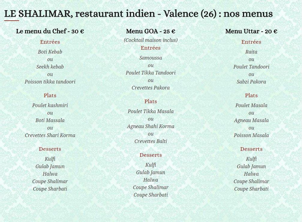 Restaurant Indien  Ef Bf Bd Valence