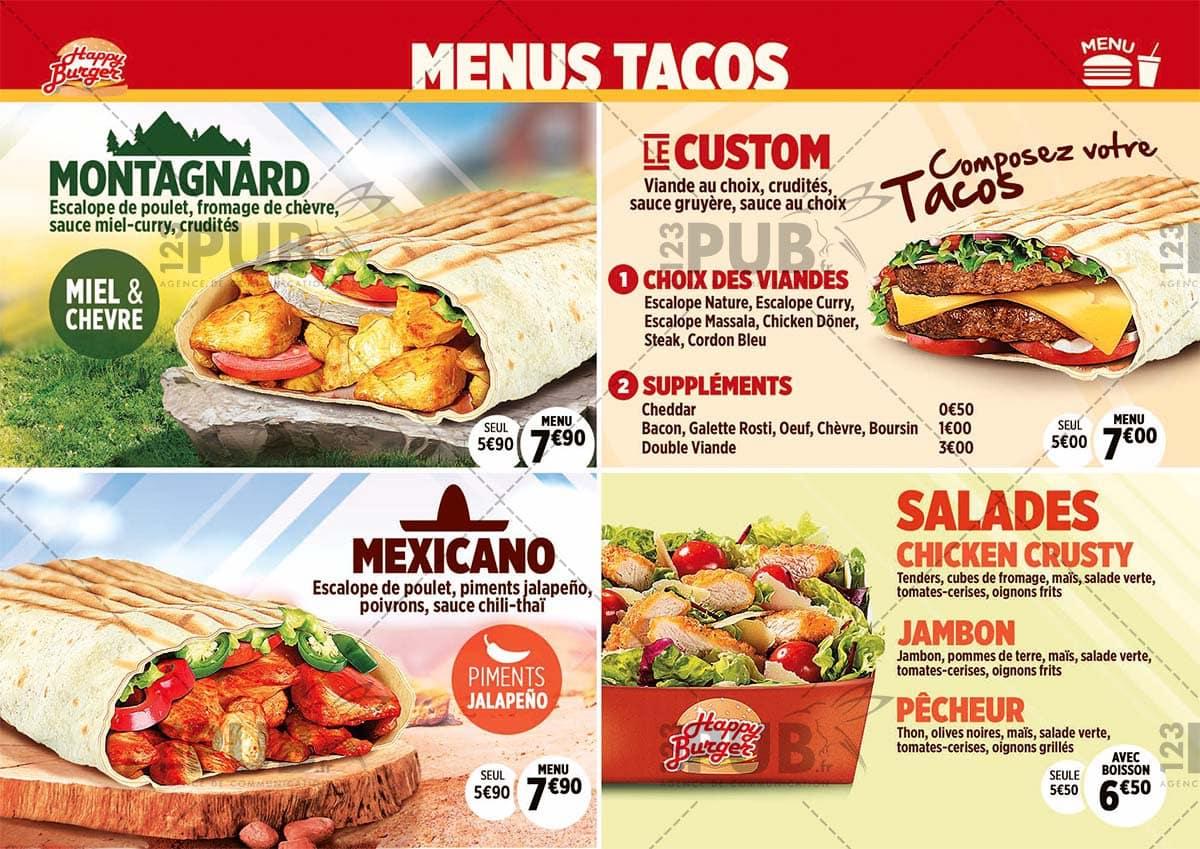 Happy burger montelimar carte menu et photos for Menu ete original