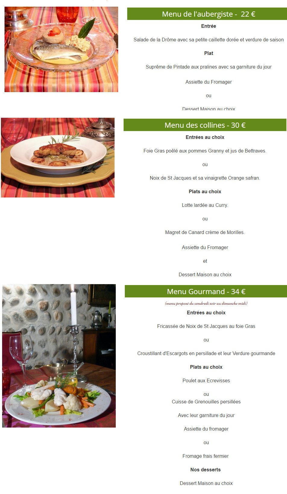 L auberge des collines granges les beaumont carte menu et photos - Les cedres restaurant granges les beaumont ...