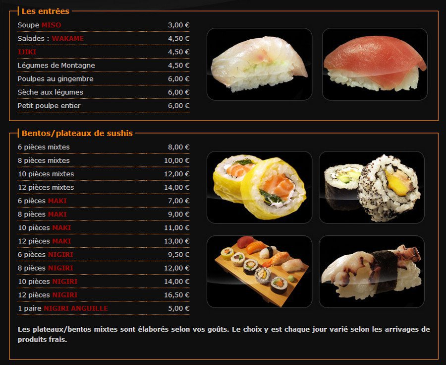 abalone sushi quimper carte menu et photos. Black Bedroom Furniture Sets. Home Design Ideas