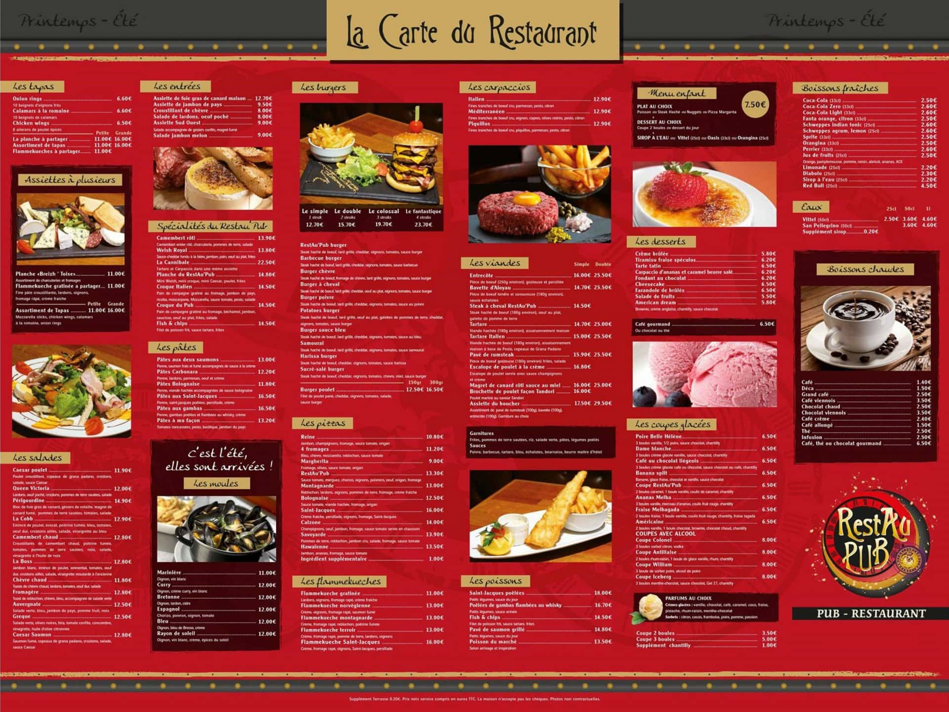 Restau pub brest carte menu et photos for Menu ete original