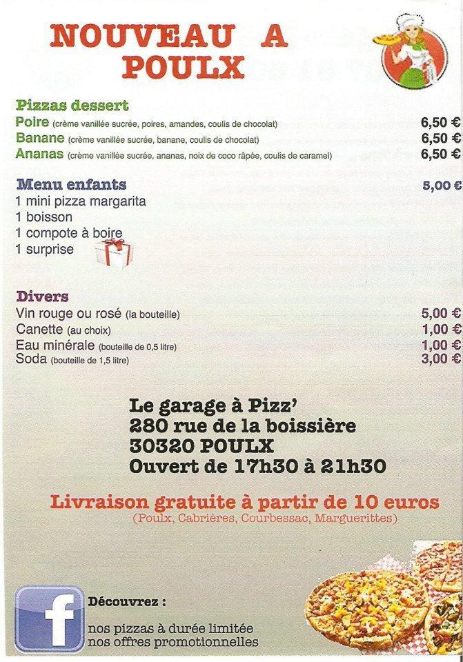 Le garage pizz 39 poulx carte menu et photos for Le garage a pizza