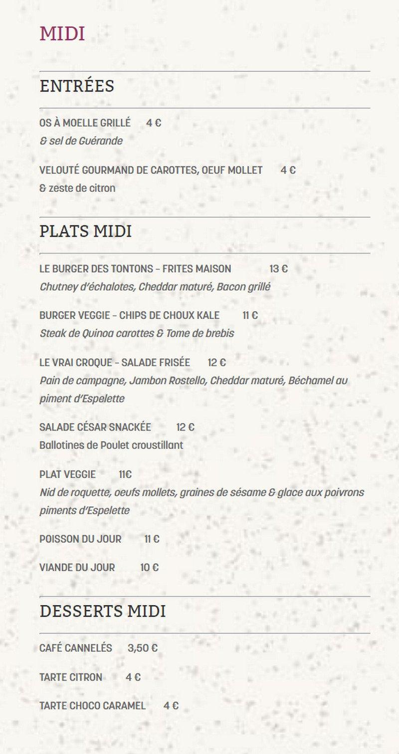 Carte Restaurant Bordeaux.Restaurant Les Tontons A Bordeaux Carte Menu Et Photos