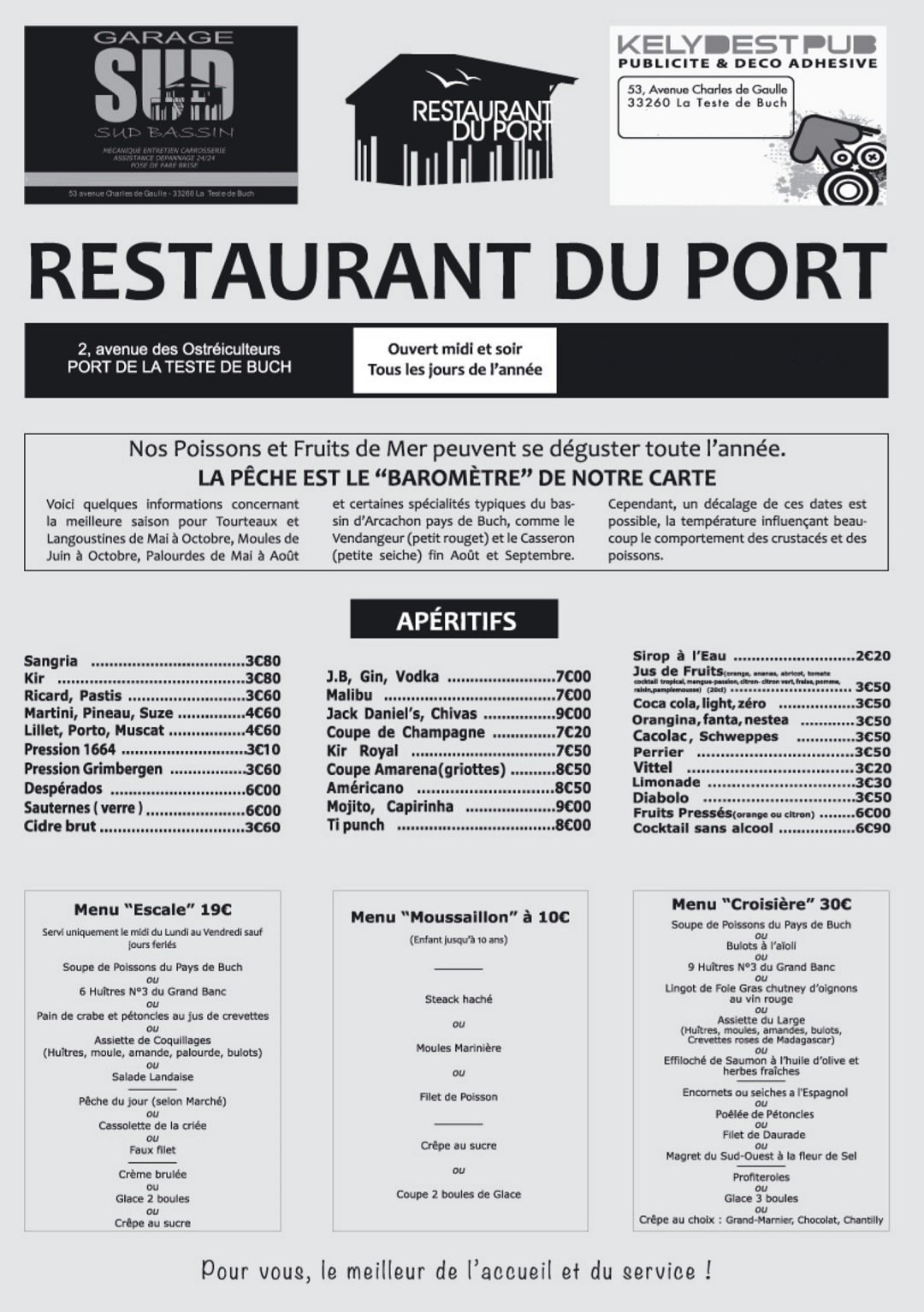 restaurant du port la teste de buch carte menu et photos. Black Bedroom Furniture Sets. Home Design Ideas