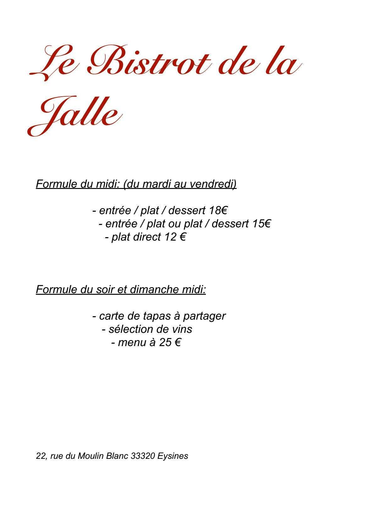 Bistrot de la jalle eysines carte menu et photos for Restaurant eysines