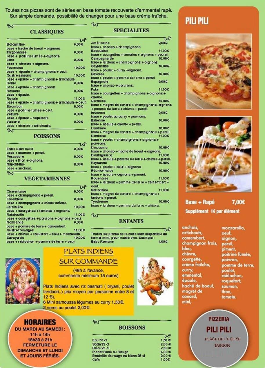 Pizzeria pili pili targon carte menu et photos for Menu ete original