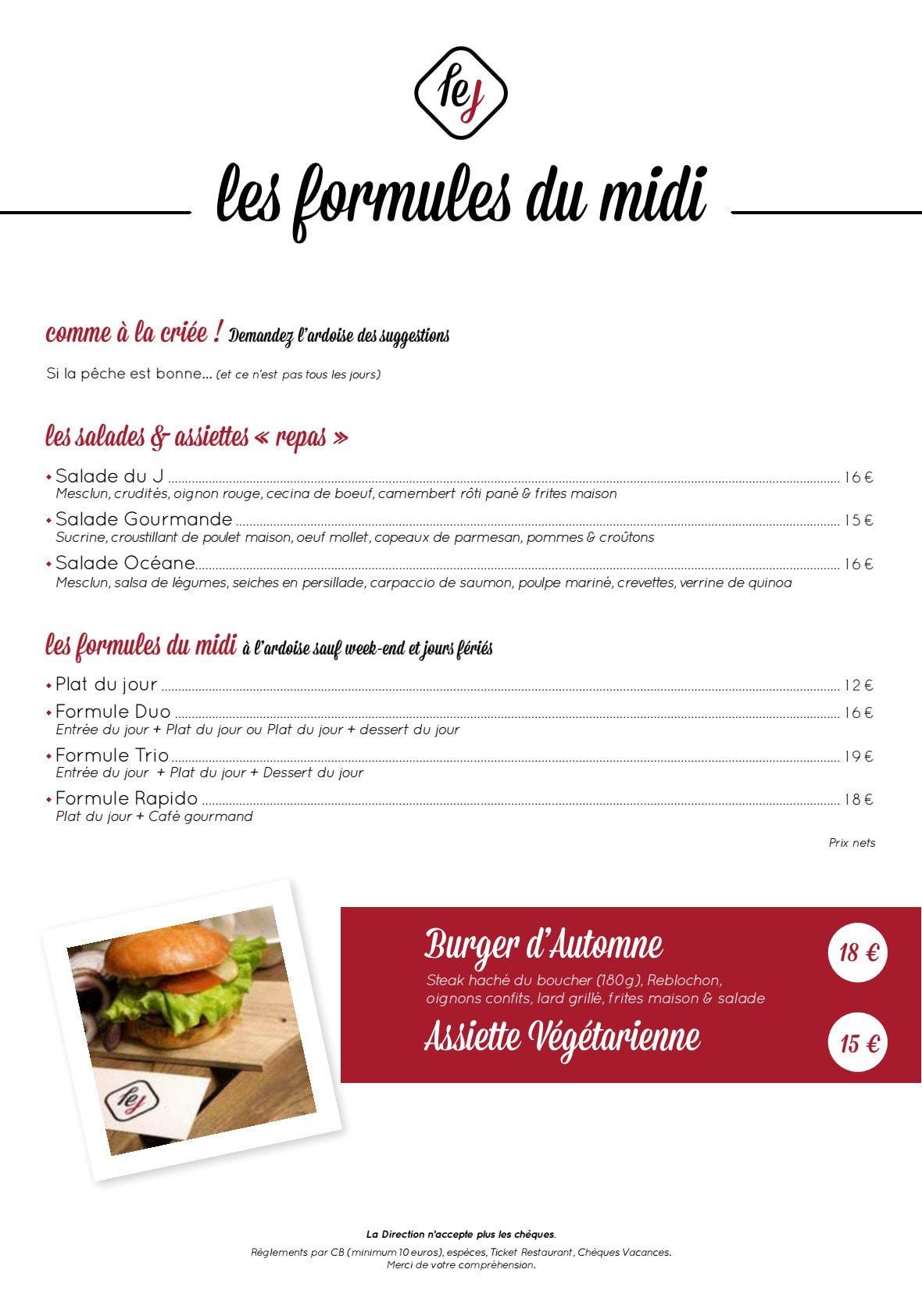 Menu Restaurant Le J Carnon