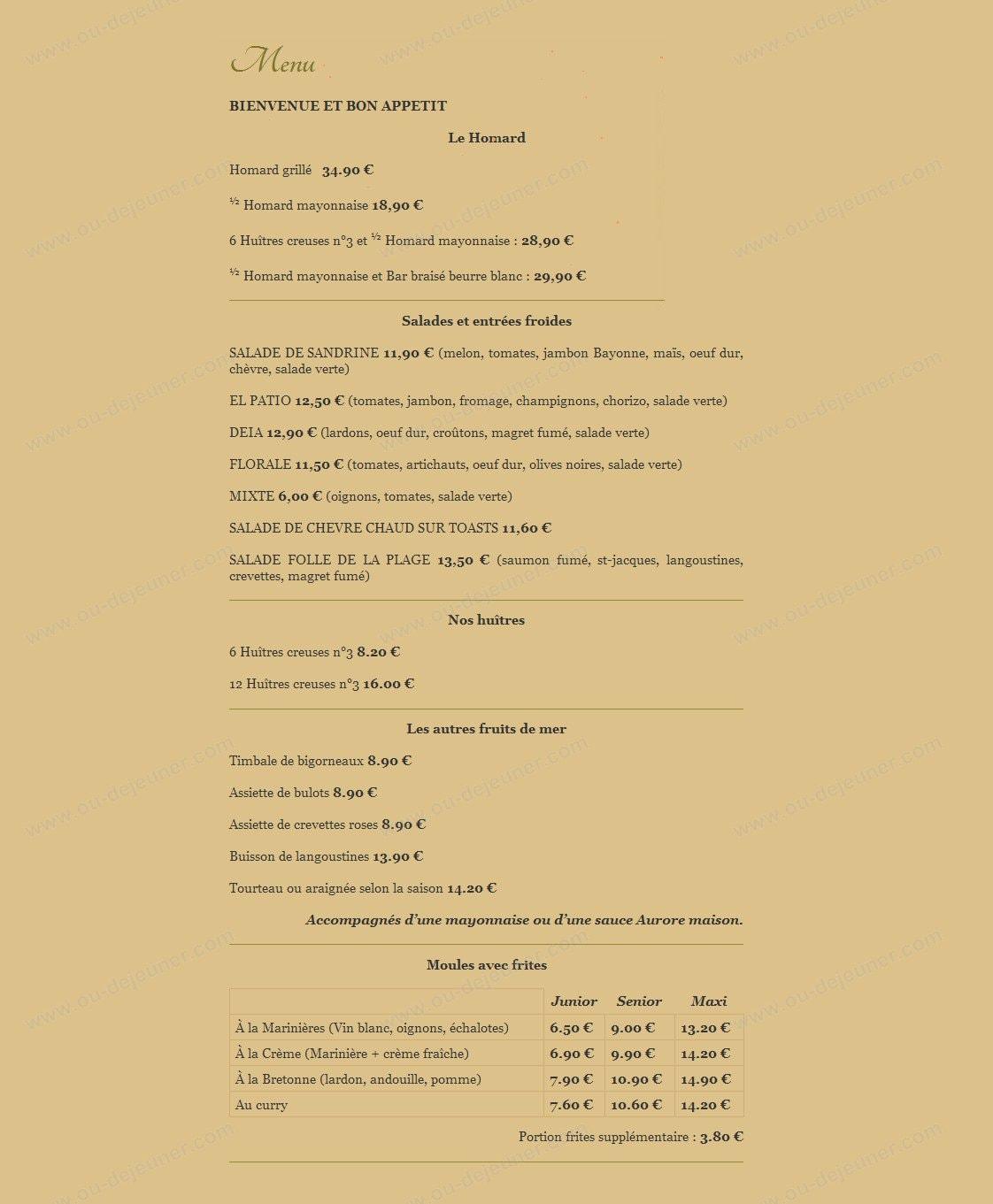 Hotel Restaurant De La Plage  U00e0 Cancale  Carte