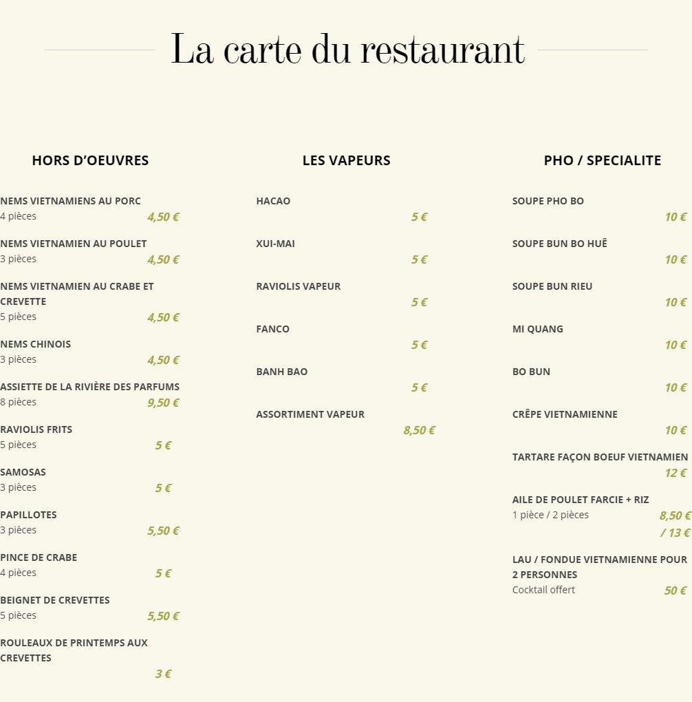 La Rivière des Parfums à Bourgoin Jallieu, carte-menu et ...