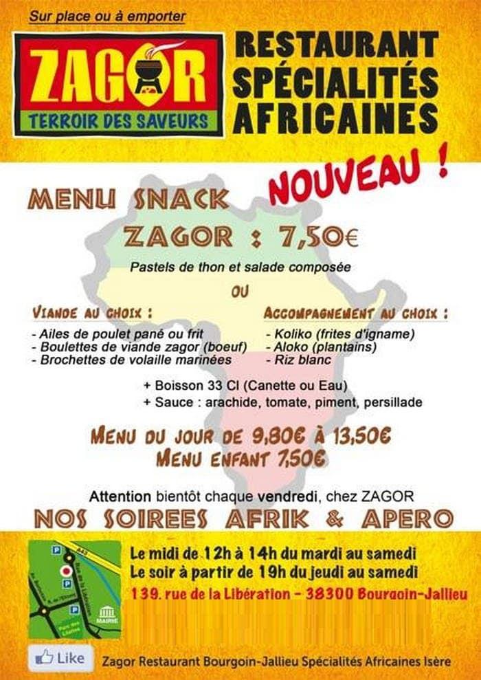 Zagor à Bourgoin Jallieu, carte-menu et photos