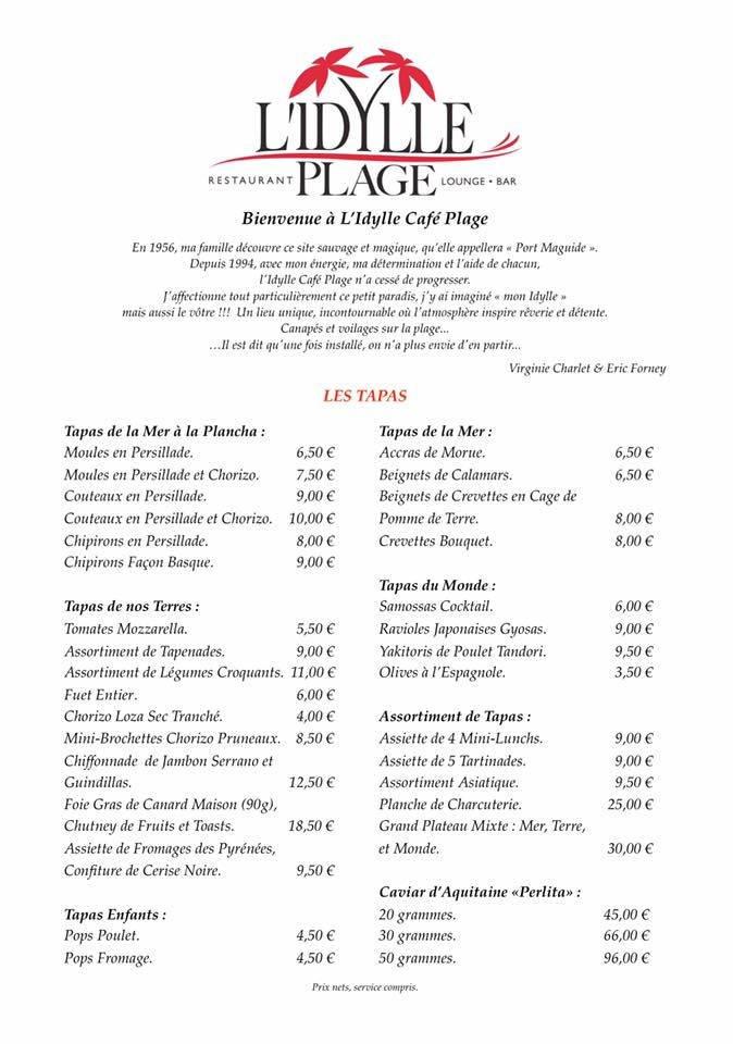 Idylle Cafe Biscarrosse Carte