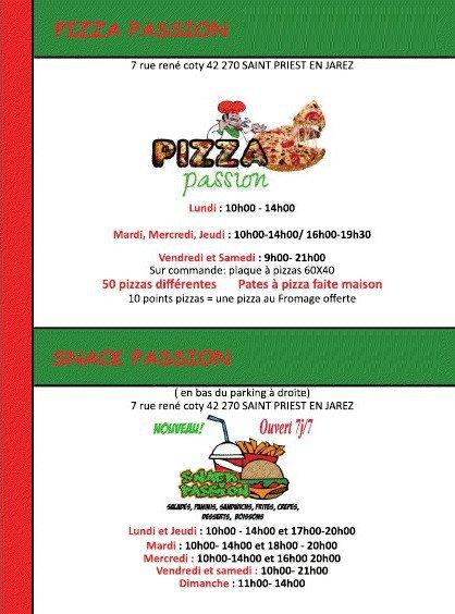Pizza passion saint priest en jarez carte menu et photos for Pizzeria gina st priest menu