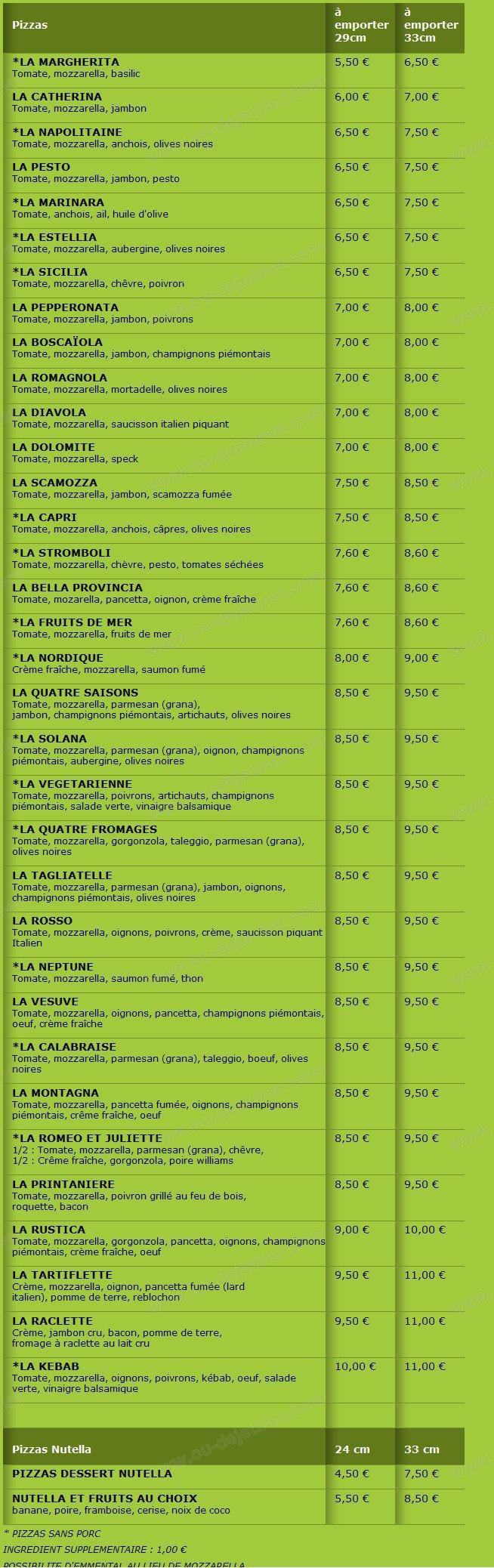 Pizzeria la tagliatelle la talaudiere carte menu et photos for Restaurant la talaudiere