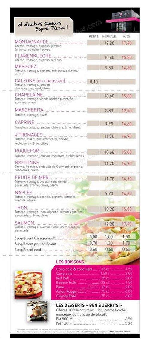 Esprit pizza nort sur erdre carte menu et photos for Le garage a pizza