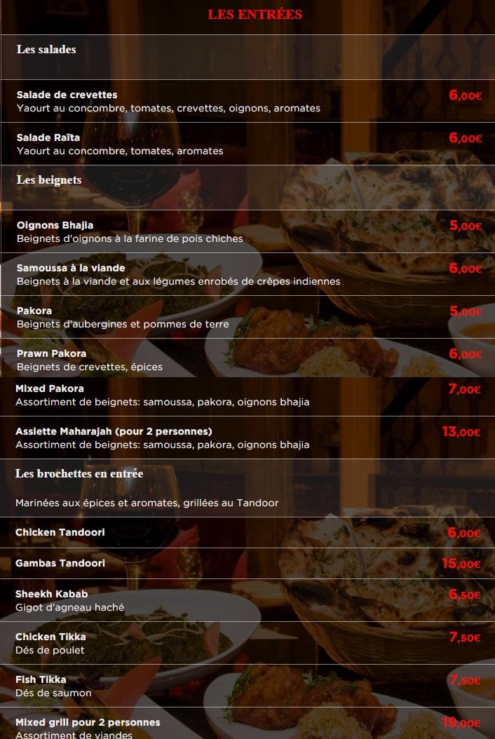 Le Maharajah Restaurant Indien