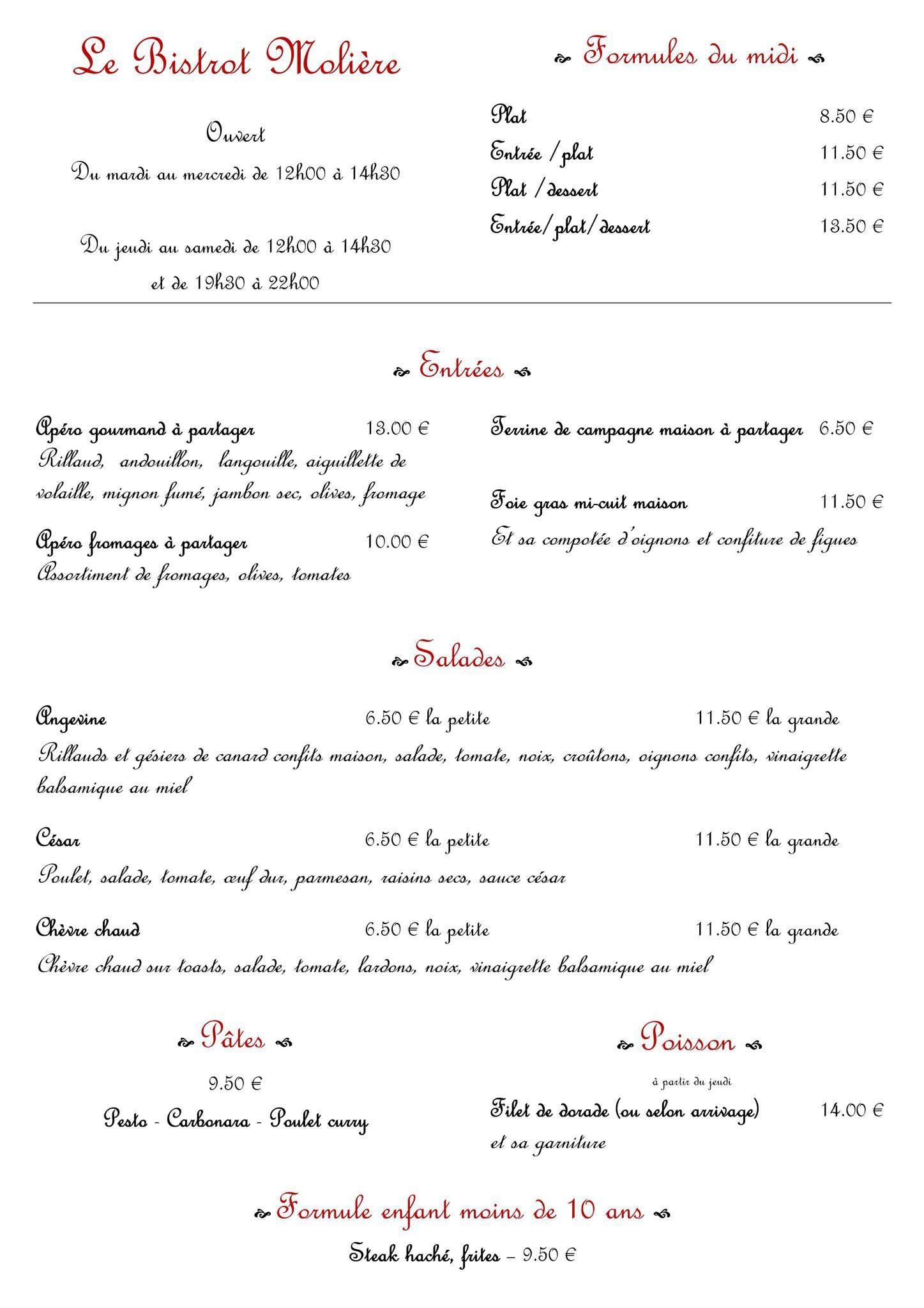 Le bistrot moli re angers carte menu et photos - Class croute angers ...