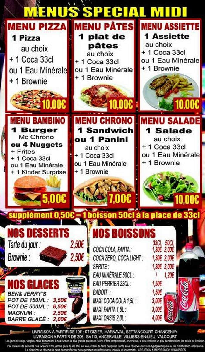 Chrono food saint dizier carte menu et photos for Menu ete original
