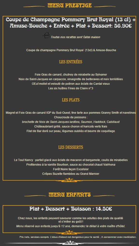 Excelsior menu
