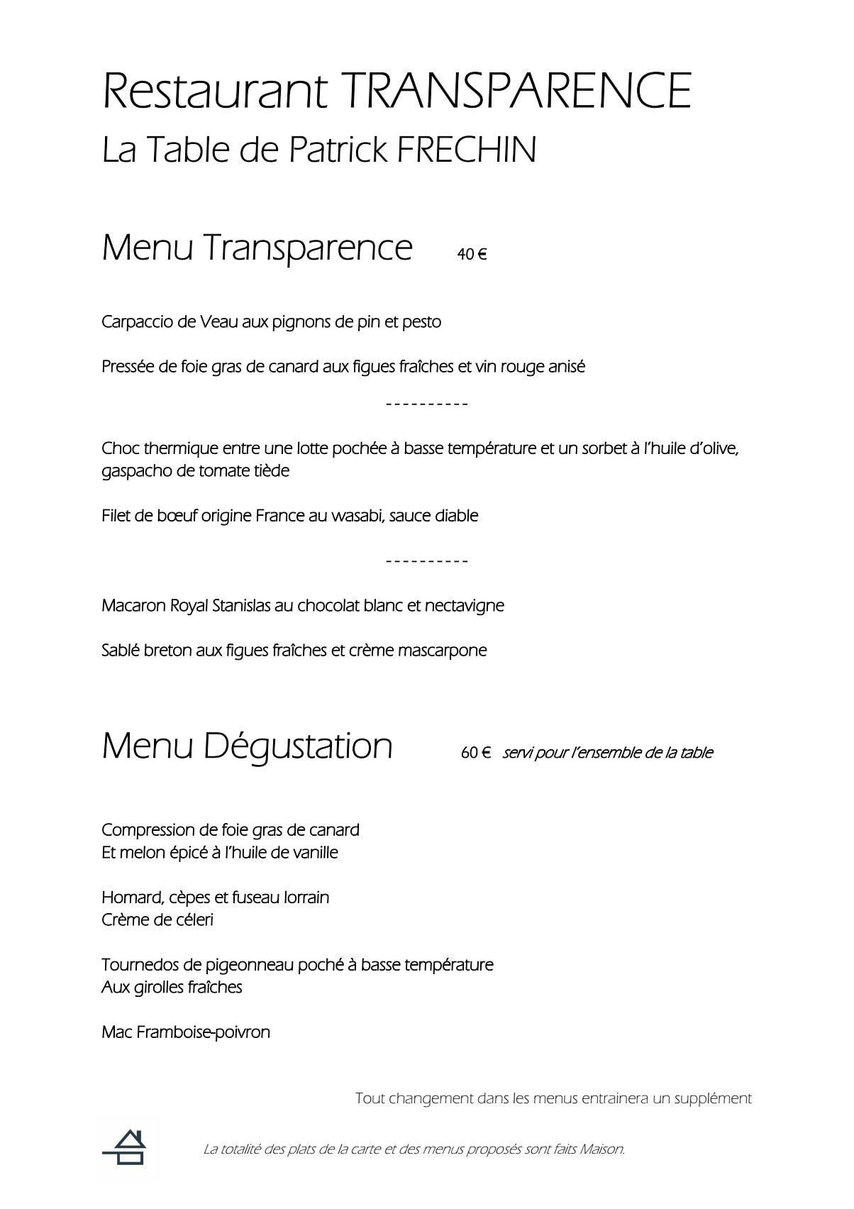 Restaurant transparence nancy carte