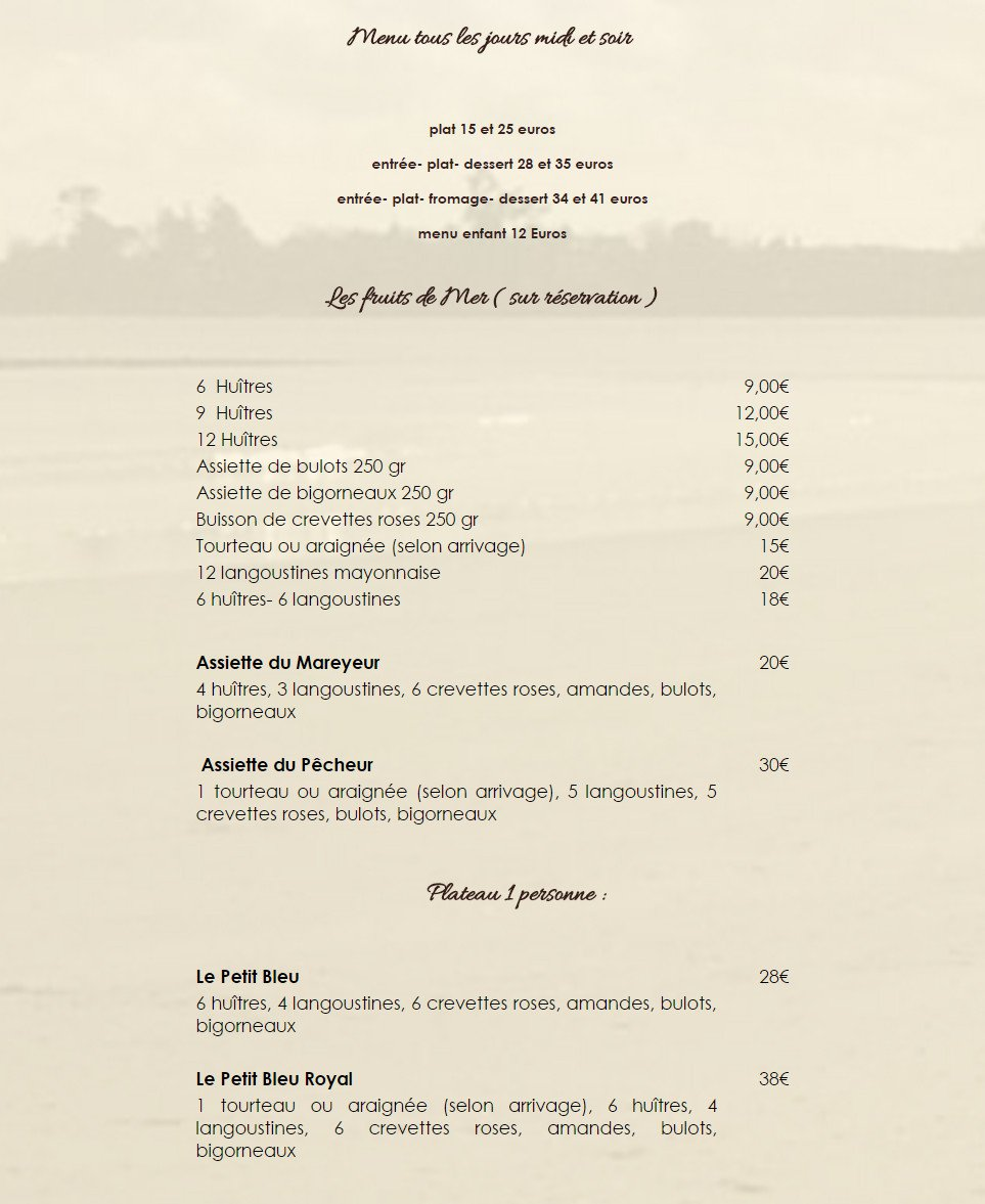 La grande plage port louis carte menu et photos - Restaurant la grande plage port louis ...