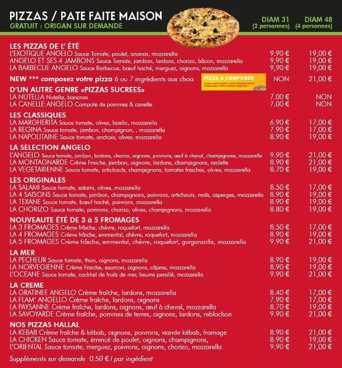Angelo pizza metz carte menu et photos for Menu ete original