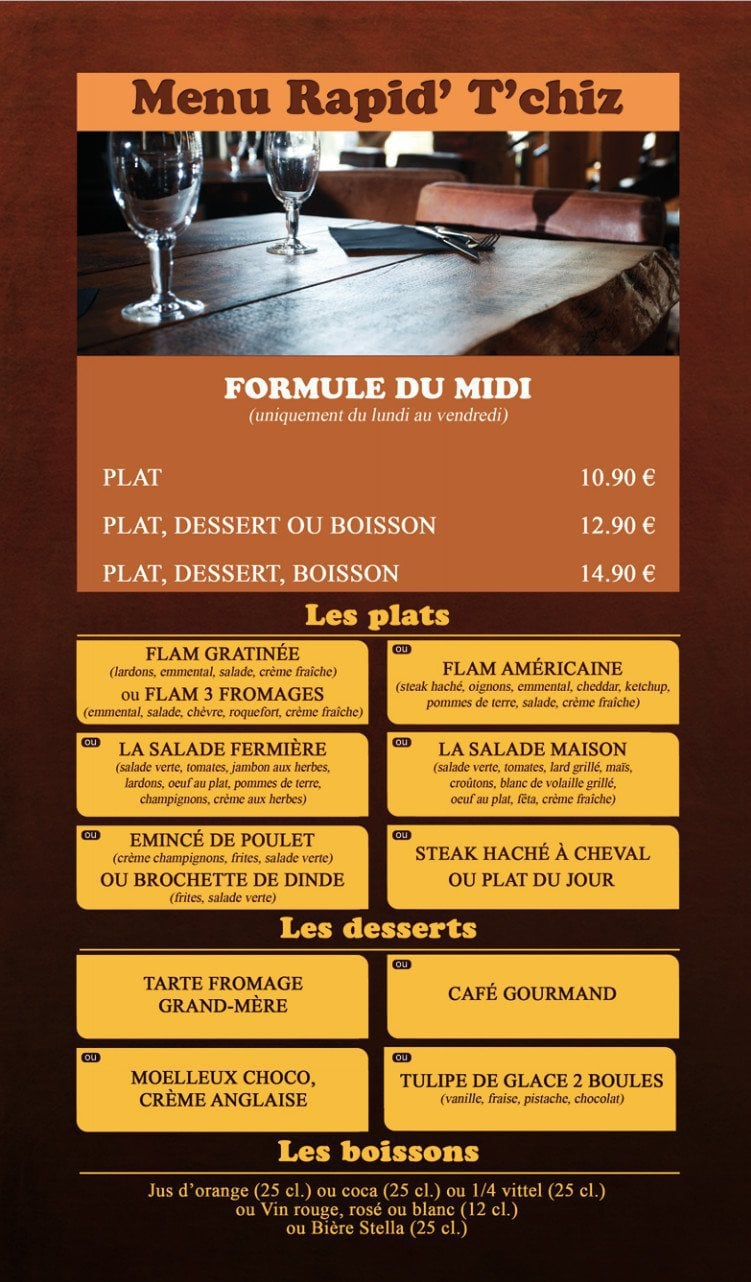 Restaurant Metz Menu