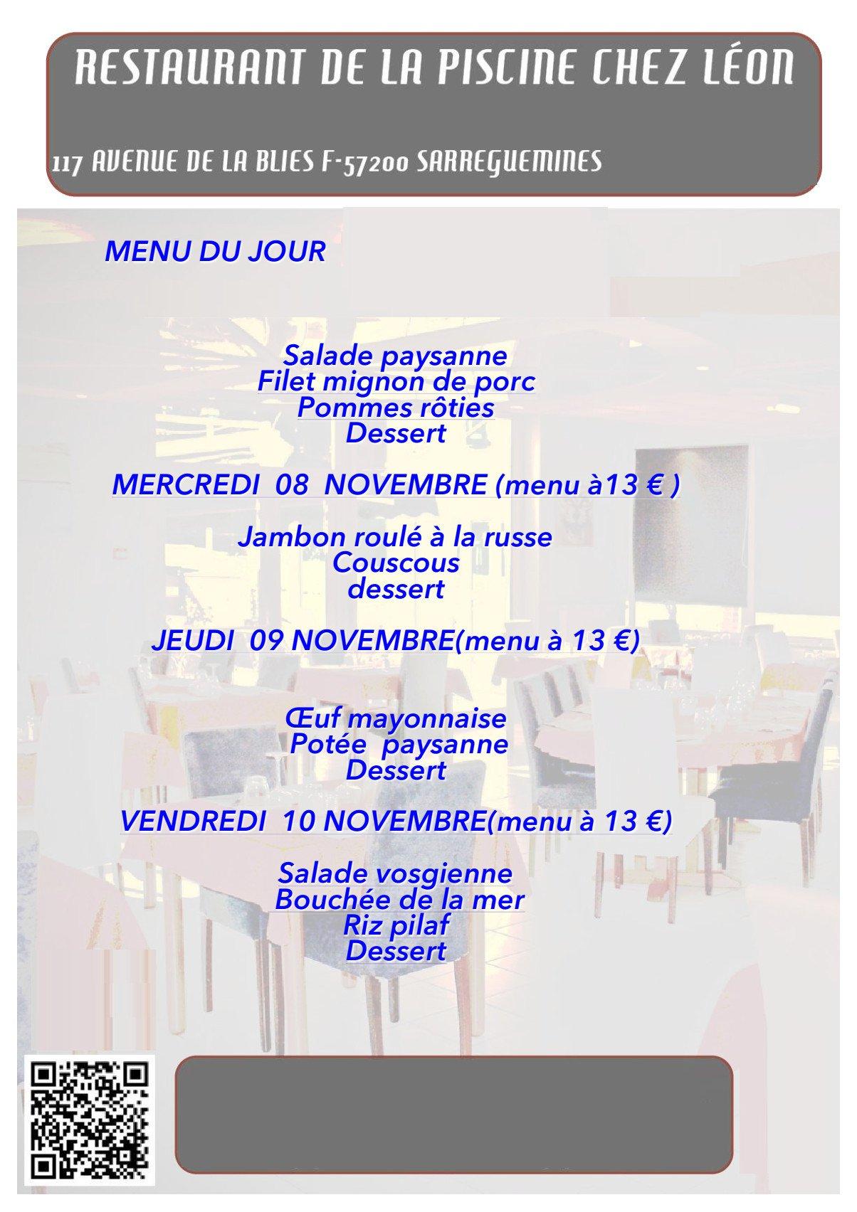 Restaurant De La Piscine Sarreguemines Menu