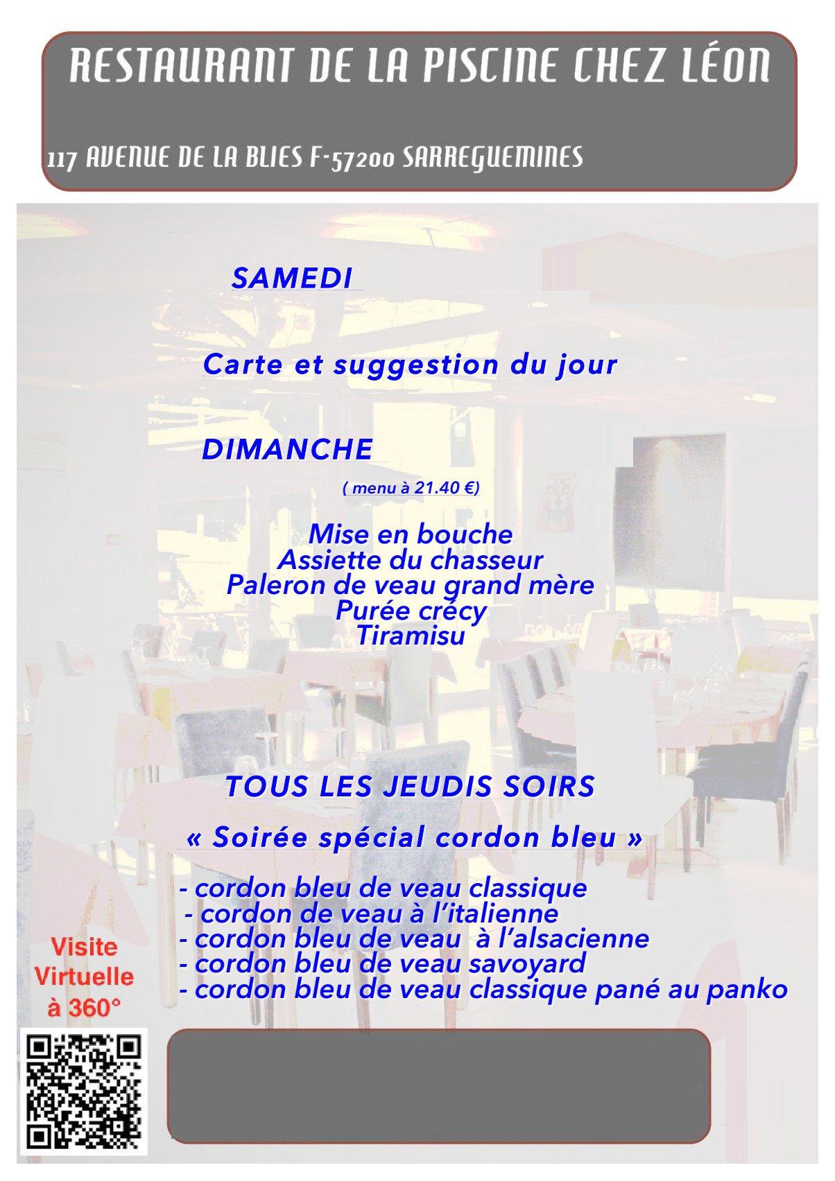 Restaurant de la piscine chez leon sarreguemines carte for Restaurant la piscine sarrebourg