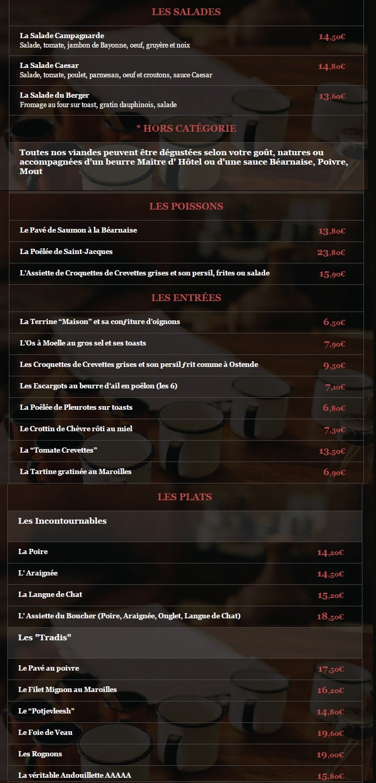 La table du boucher lille carte menu et photos - Restaurant la table du boucher lille ...
