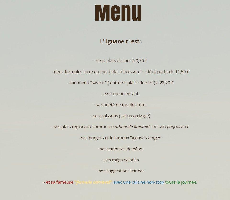 Restaurant L Iguane Dunkerque Menu