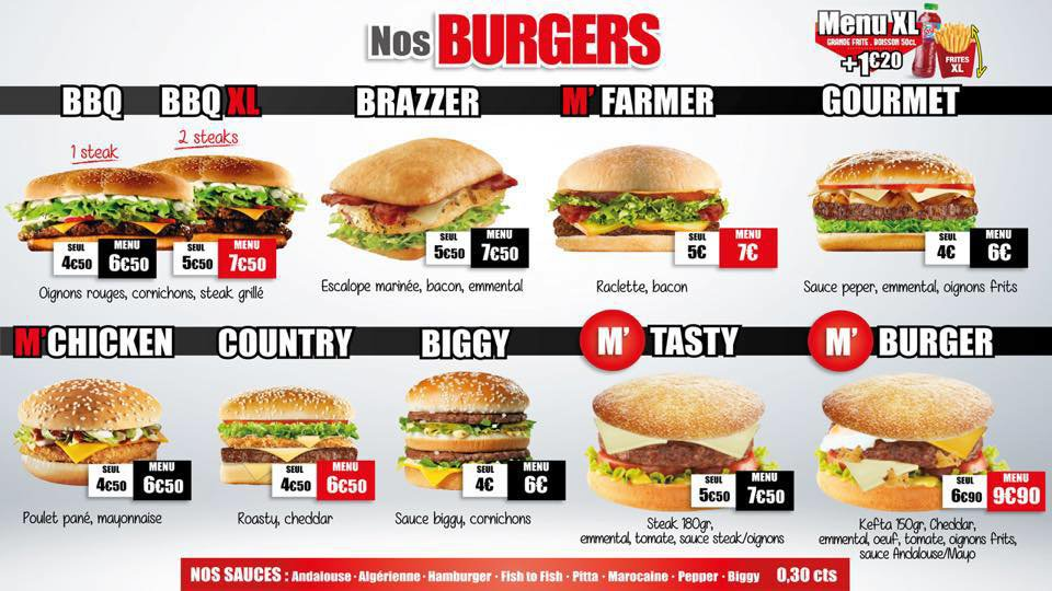 Menus Burgers Burger King Carte.M Burger A Dunkerque Carte Menu Et Photos