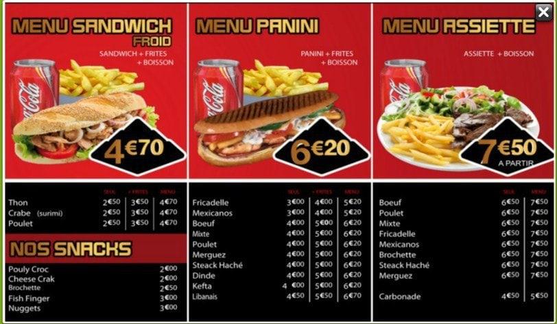 Pyramide kebab tourcoing carte et menu en ligne for Divan kebab carte