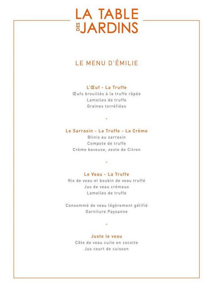 La table des jardins bois grenier carte menu et photos - La table d emilie marseillan menu ...
