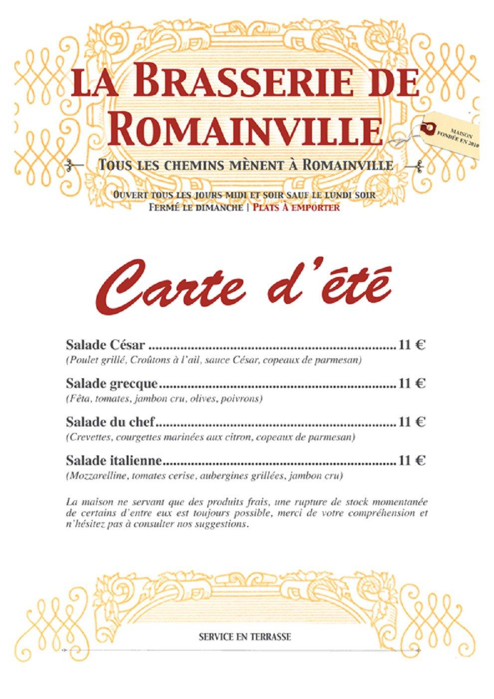 La brasserie de romainville valenciennes carte menu et for Menu ete original