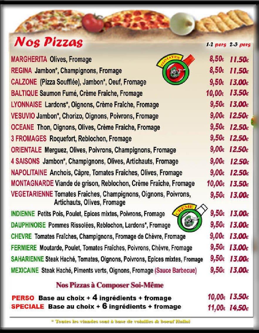Le four pizza valenciennes carte et menu en ligne for Menu ete original