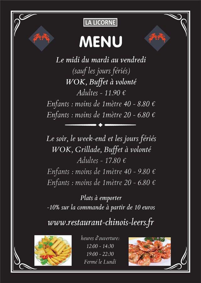 La licorne lys lez lannoy carte menu et photos for Menu ete original