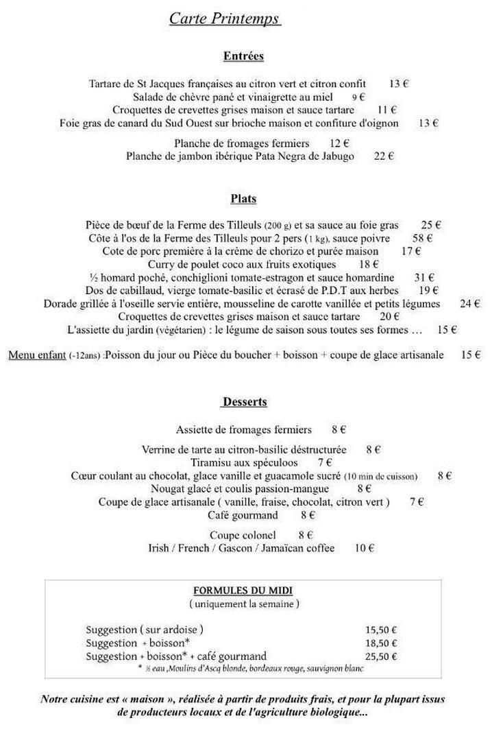 Le Petit Jardin à Villeneuve D\'ascq, carte-menu et photos