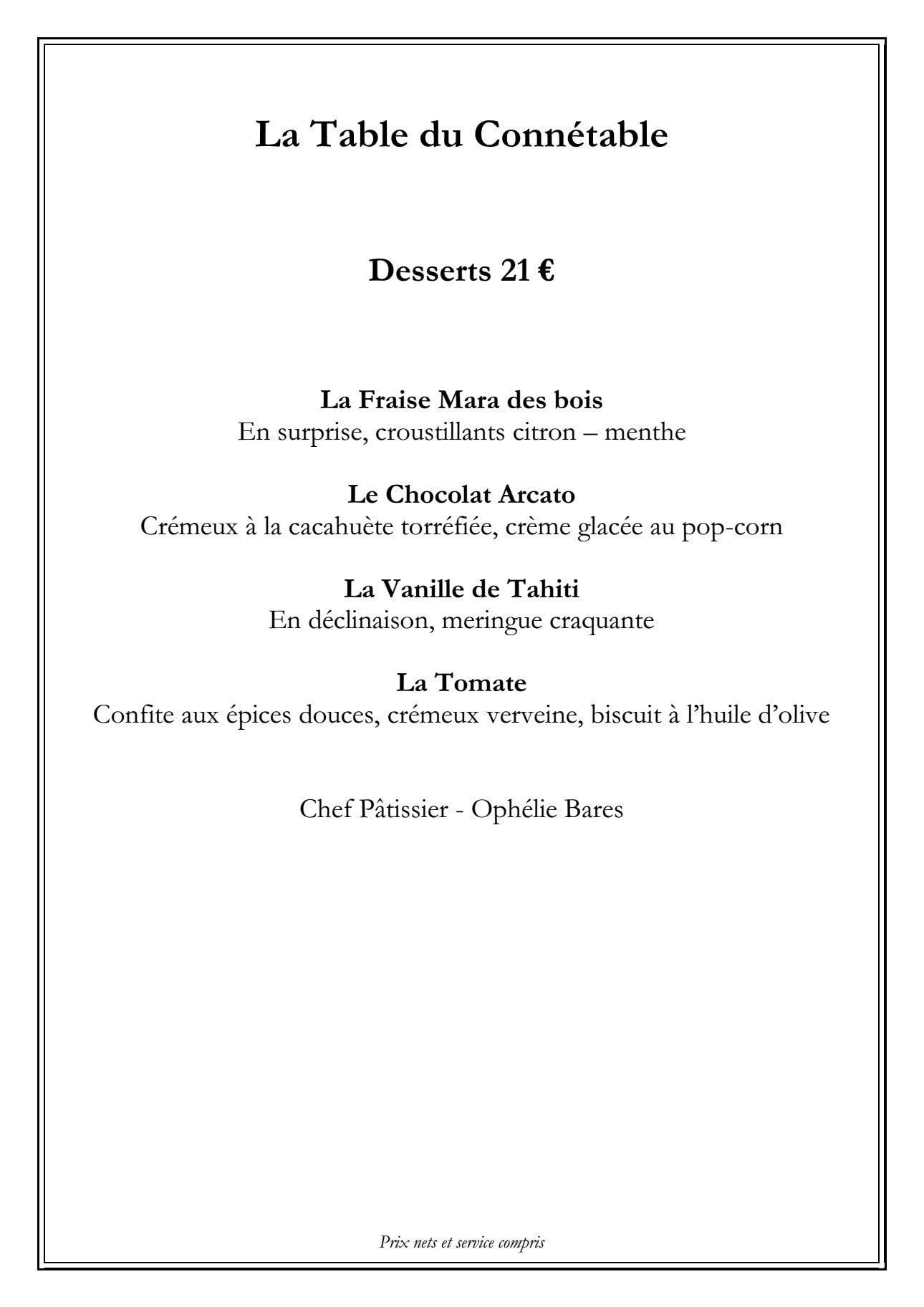 La Table Du Conn Table Chantilly Carte Menu Et Photos