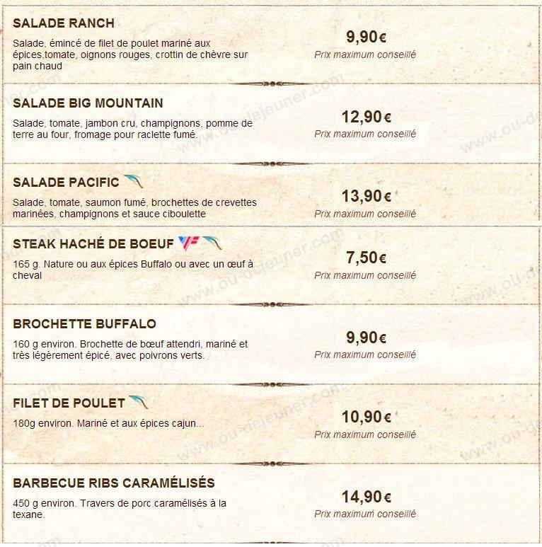 Buffalo grill valframbert carte et menu en ligne - Menu buffalo grill tarif ...