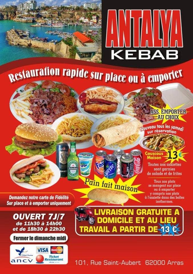 antalya kebab arras carte menu et photos. Black Bedroom Furniture Sets. Home Design Ideas