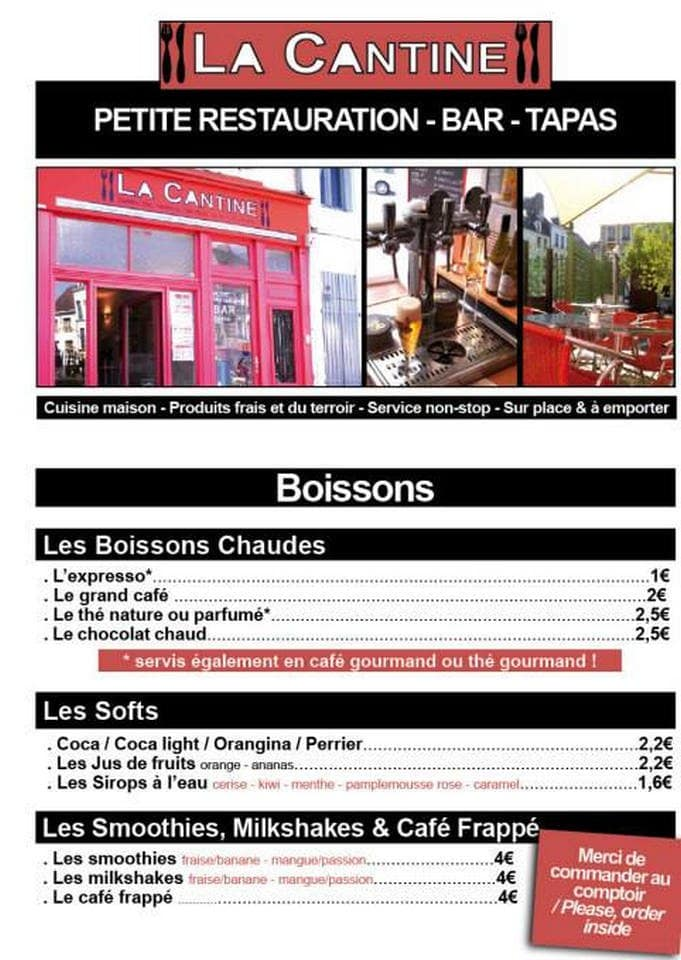 la cantine boulogne sur mer carte menu et photos. Black Bedroom Furniture Sets. Home Design Ideas