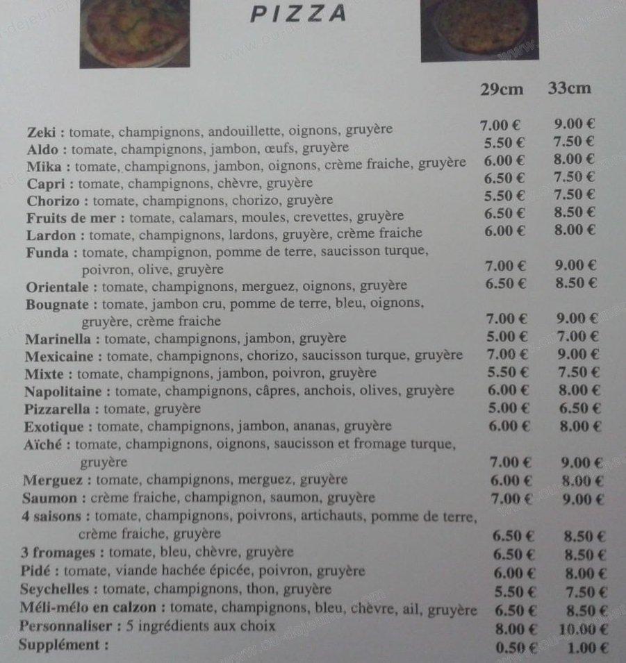 Les seychelles courpiere carte menu et photos for Menu ete original
