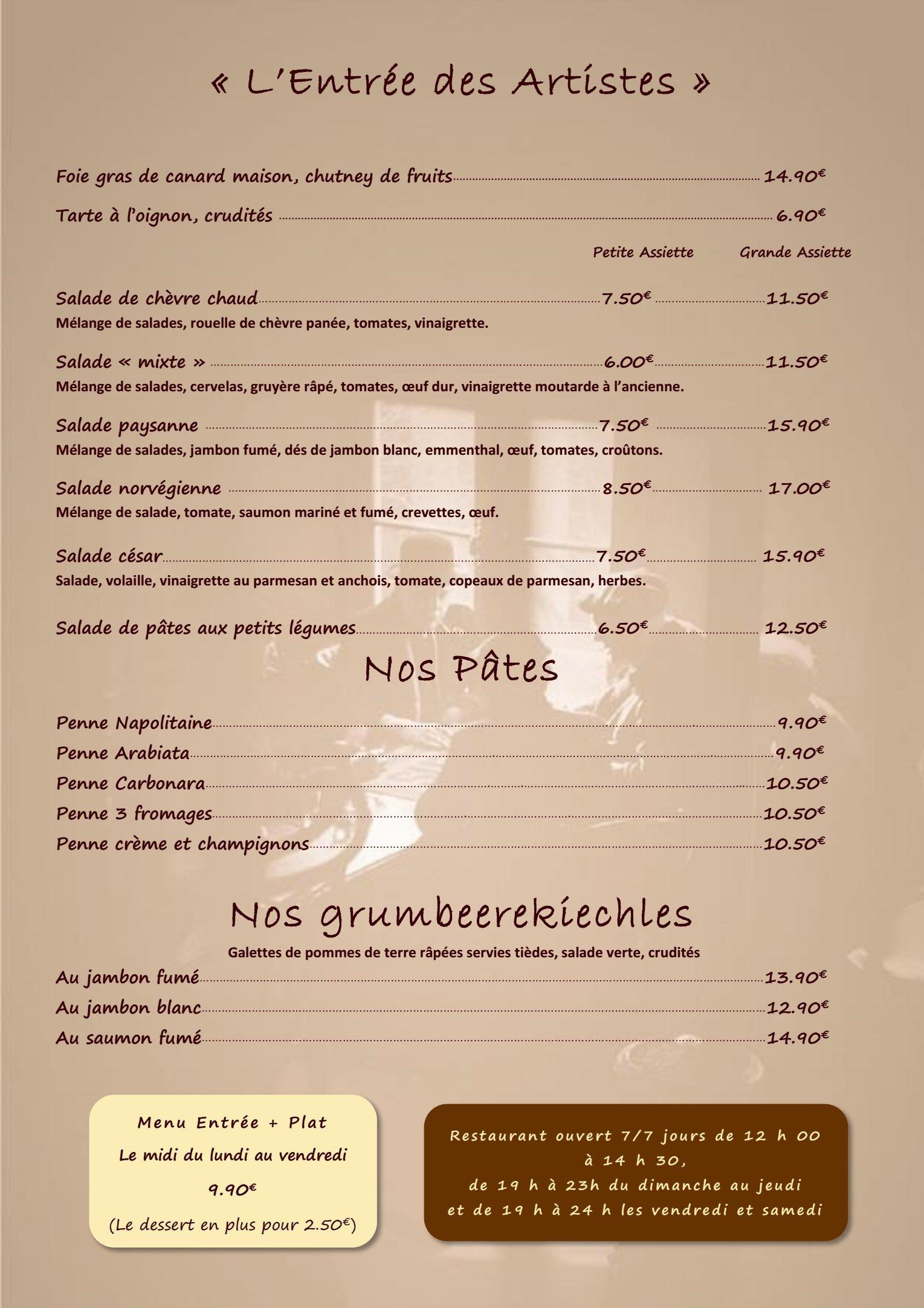 Le bistrot des copains strasbourg carte menu et photos for Menu entre copains