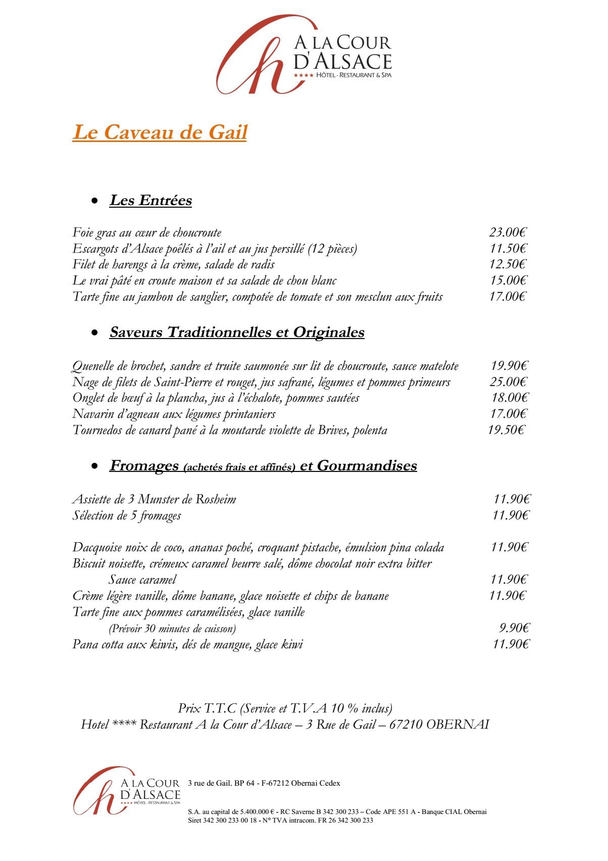 A la Cour d Alsace   Obernai carte menu et photos