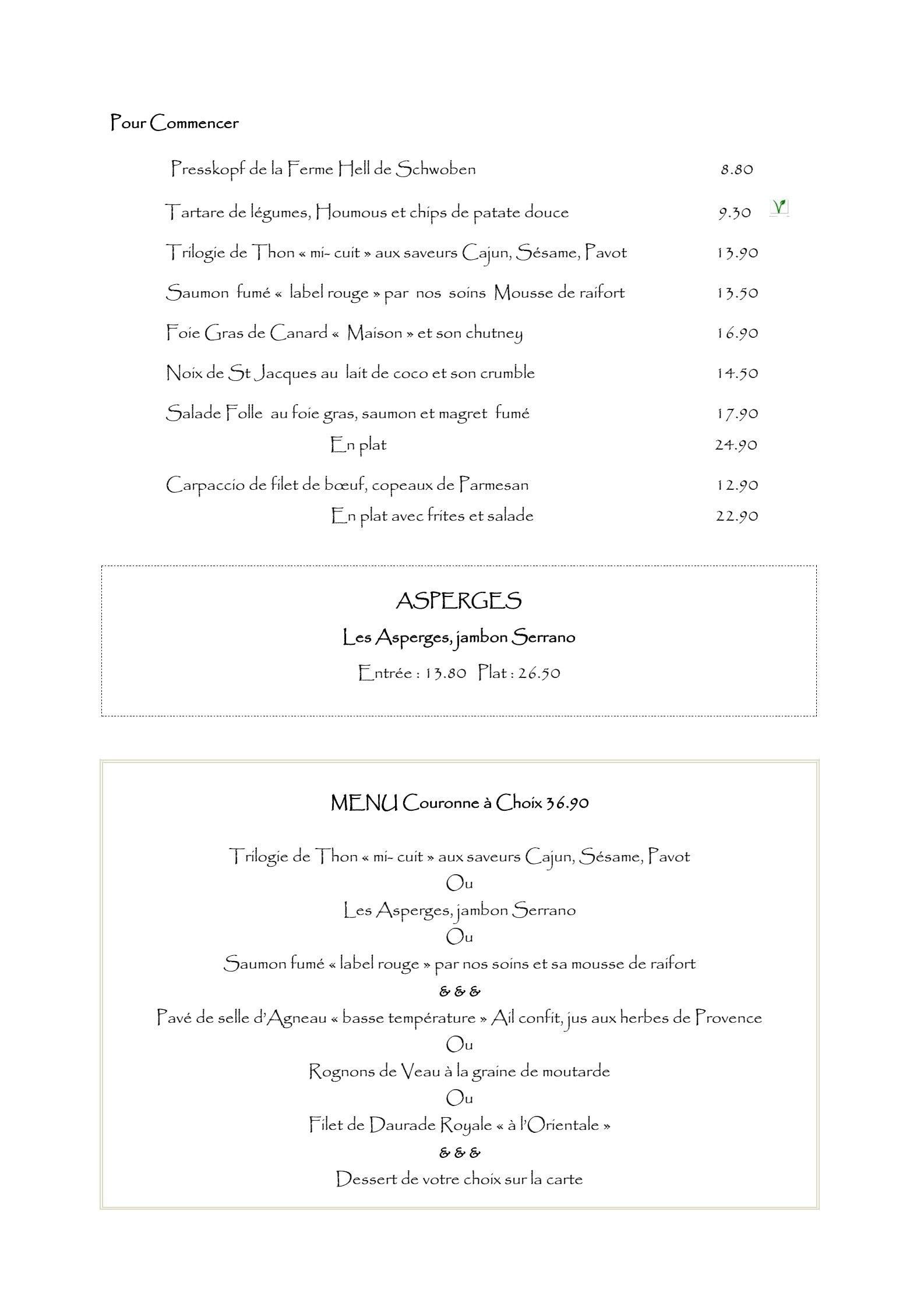 Restaurant La Couronne Carspach Carte