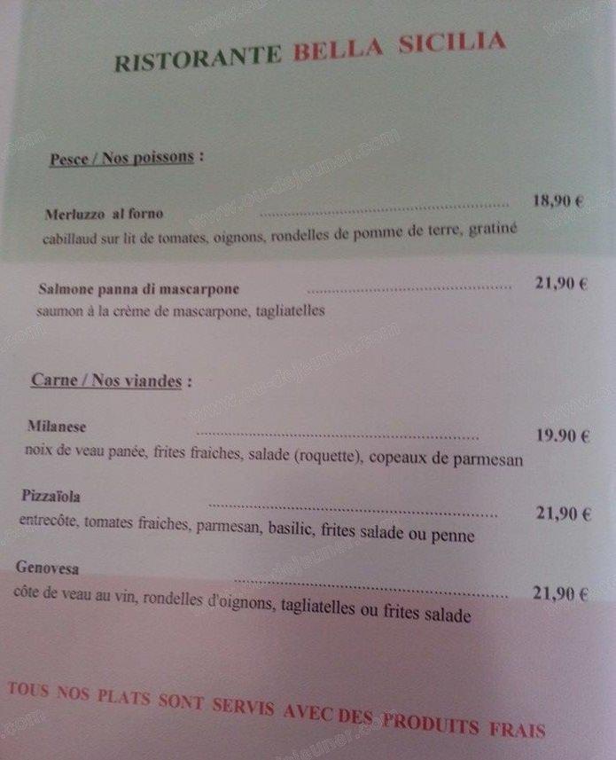 La Bella Sicilia Restaurant Menu