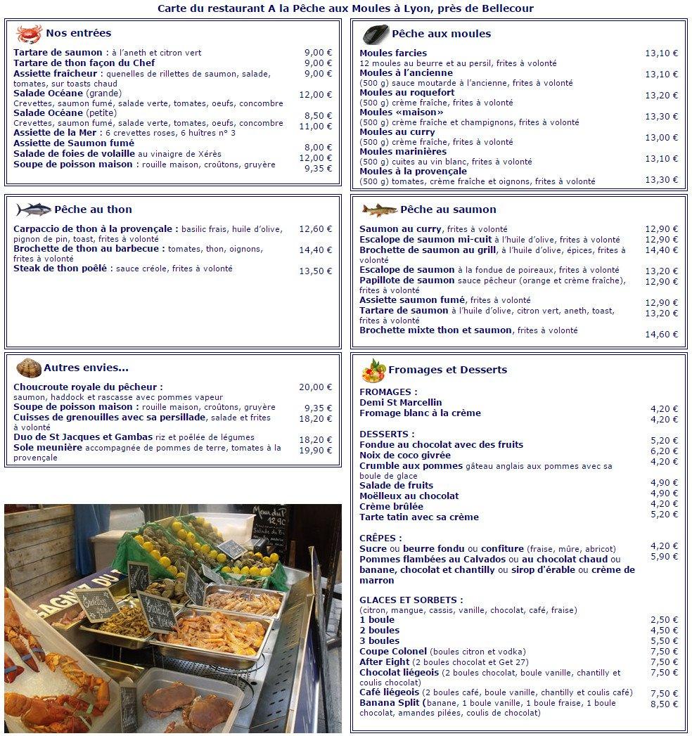 restaurant a la pêche aux moules à lyon 2, carte-menu et photos