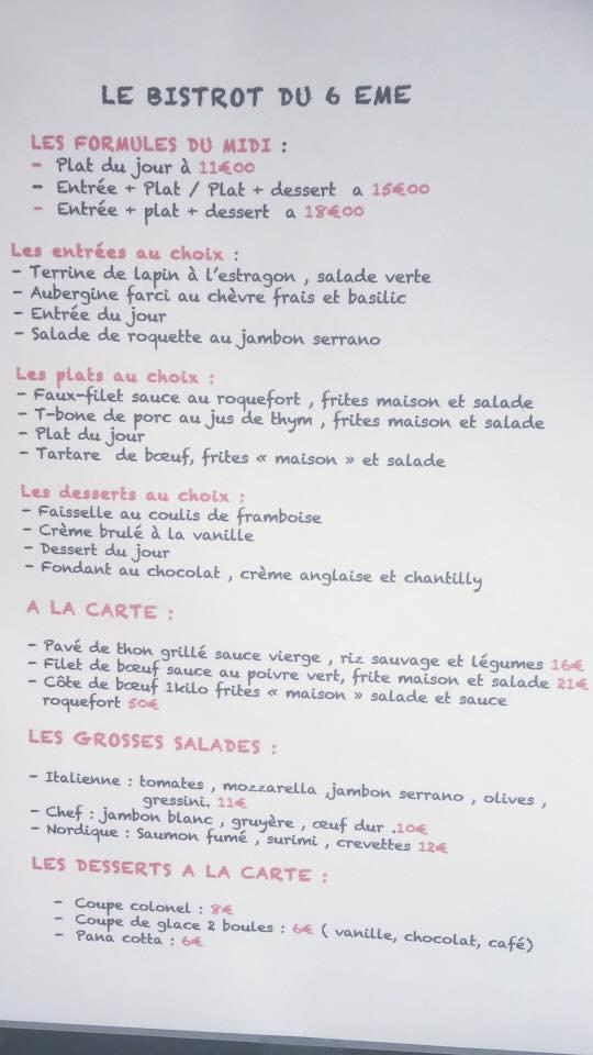 Le Bistrot du 6ème à Lyon 6, carte menu et photos